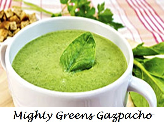Mighty Greens Gazpacho labeled